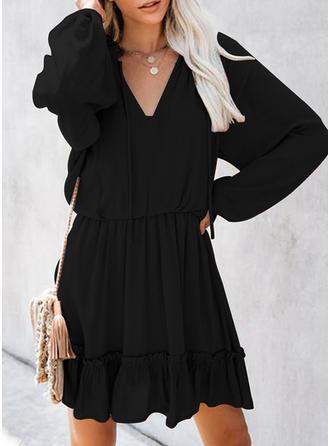 Couleur Unie Manches Longues Droite Au-dessus Du Genou Petites Robes Noires/Décontractée/Élégante Robes