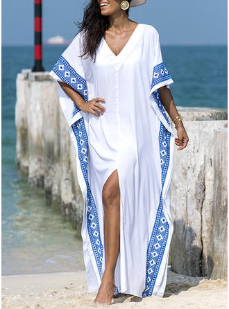 Splice color V-neck Elegant Beautiful Bohemian Attractive Cover-ups Swimsuits