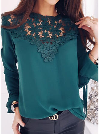 Solid Lace Round Neck Flare Sleeve Long Sleeves Casual Elegant Blouses