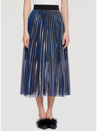 Mesh Plain Mid-Calf Pleated Skirts A-Line Skirts