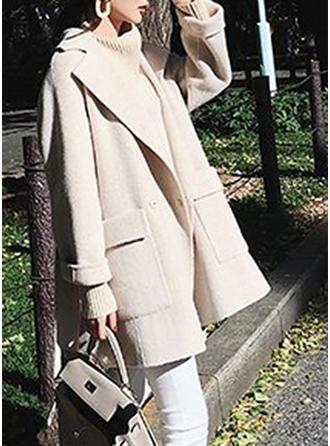 Bawełna Długie rękawy Jednolity kolor Mieszanki Płaszcze