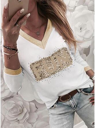 Letter V-Neck Long Sleeves T-shirts