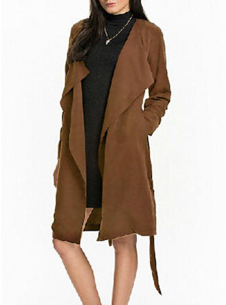 Blends Long Sleeves Plain Trench Coats