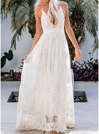 Lace/Solid Sleeveless A-line Sexy/Party/Vacation Maxi Dresses
