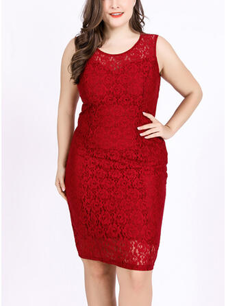 Lace/Solid Sleeveless Sheath Knee Length Plus Size Dresses