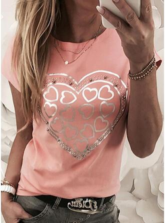 Perlebrodering Hjerte Print pailletter Rund hals Korte ærmer T-shirts
