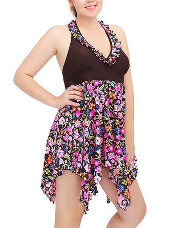 Imprimé Tropical Dos Nu Sexy Grande taille Robes de bain Maillots De Bain