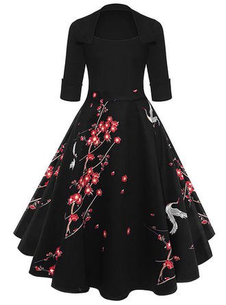 Print/Floral 1/2 Sleeves A-line Knee Length Vintage/Little Black/Elegant Dresses