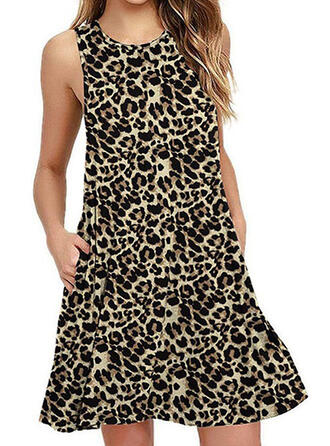 Leopard Sleeveless Shift Above Knee Casual Dresses