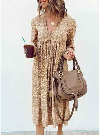 Leopard Long Sleeves Shift Casual Midi Dresses