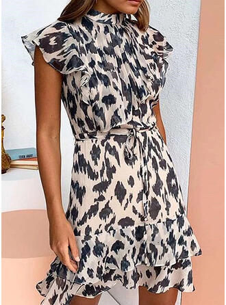 Leopard Short Sleeves Bodycon Above Knee Casual/Elegant Dresses