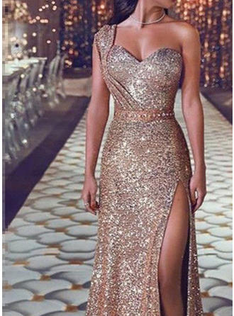 Sequins Cold Shoulder Sleeve Sheath Maxi Party Dresses