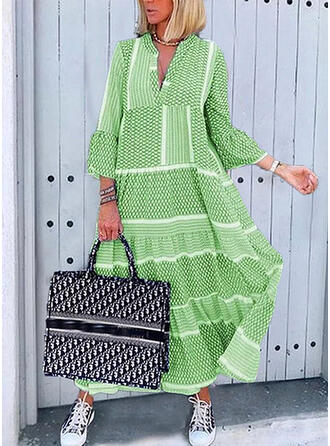 Print 3/4 Sleeves/Flare Sleeves Shift Casual/Elegant Midi Dresses