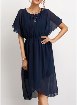 Einfarbig Kurze Ärmel A-Linien Knielang Freizeit/Elegant Kleider