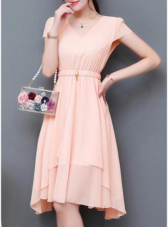Solid Short Sleeves A-line Asymmetrical Vintage/Little Black/Casual/Elegant Dresses