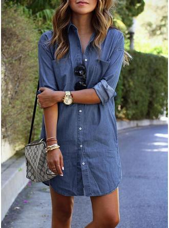 Dżinsowa Lapel Jednolity kolor Długie rękawy Koszula Bluzki