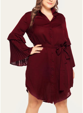 Solid Long Sleeves/Flare Sleeves A-line Knee Length Casual Dresses
