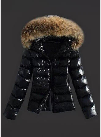 Faux Fur Long Sleeves Plain Jackets Coats