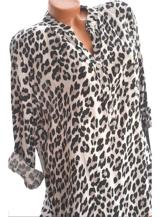 Animal Print V Neck Long Sleeves Button Up Casual Elegant Blouses