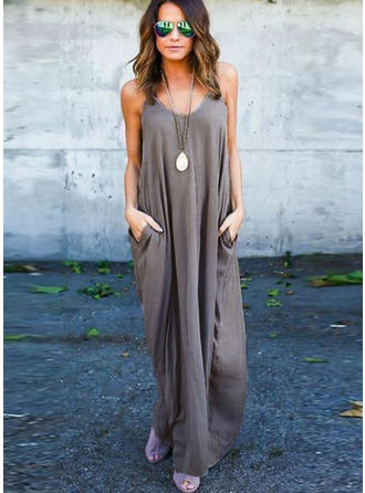 Cotton With Stitching/Solid Maxi Dress