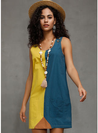 Color-block Sleeveless Shift Above Knee Casual Dresses
