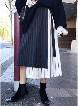 Polyester Plain Mid-Calf Flared Skirts