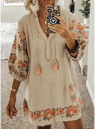 Print/Floral 3/4 Sleeves Shift Above Knee Casual Dresses