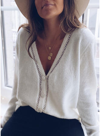 Solid V-Neck Cardigan