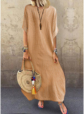 Striped 1/2 Sleeves Shift Maxi Casual/Vacation Dresses