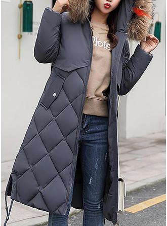 Polyester Faux Fur Long Sleeves Plain Down Coats