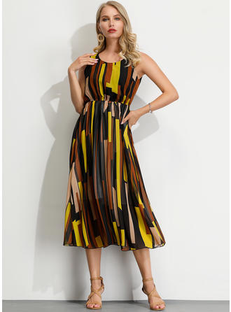 Geometric Print Sleeveless A-line Midi Casual Dresses