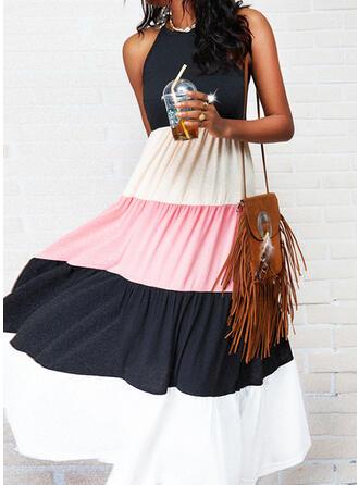 Color Block Sleeveless A-line Slip Casual Maxi Dresses