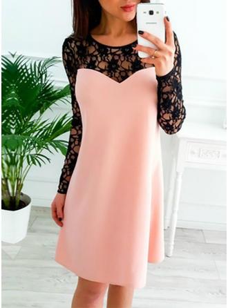 Encaje/Sólido Manga Larga Tendencia Hasta la Rodilla Pequeños Negros/Casual/Elegante Vestidos