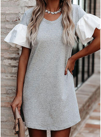 Color Block Short Sleeves/Flare Sleeves Shift Above Knee Casual Dresses