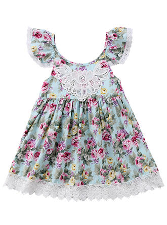 Girls Round Neck Floral Lace Casual Cute Dress