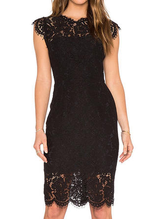 Lace Solid Round Neck Knee Length Shift Dress