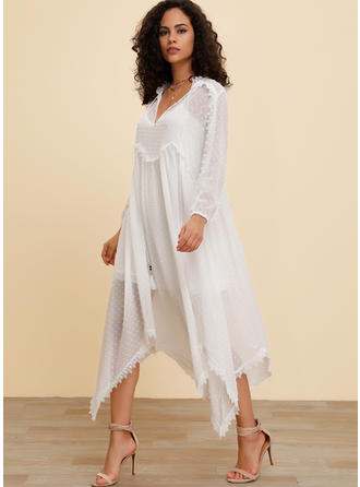 Lace/Embroidery/Solid 3/4 Sleeves Shift Boho/Vacation Maxi Dresses