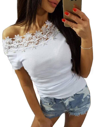 Solide Kant Off the Shoulder Korte Mouwen Casual Blouses