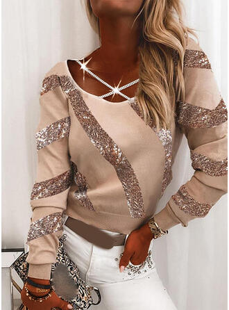 Sequins Round Neck Long Sleeves Casual Blouses