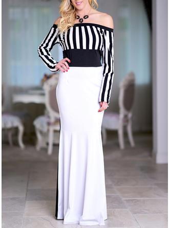 Striped Off-the-Shoulder Maxi Sheath Dress