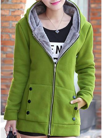 Mieszanki bawełniane Długie rękawy Jednolity kolor Mieszanki Płaszcze