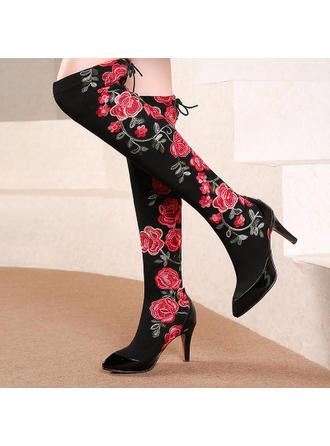 Femmes Cuir en microfibre Talon stiletto Cuissardes avec Une fleur chaussures
