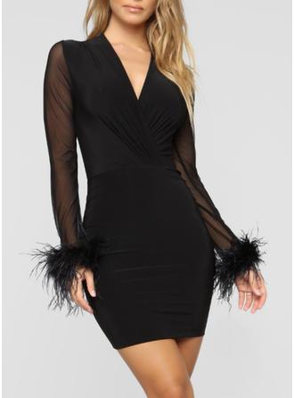Pevný Dlouhé rukávy Přiléhavé Mini Malé černé/Sexy Šaty