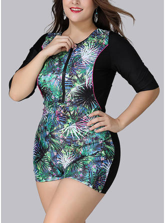 Beautiful Colorful Round Neck One-piece Swimsuit