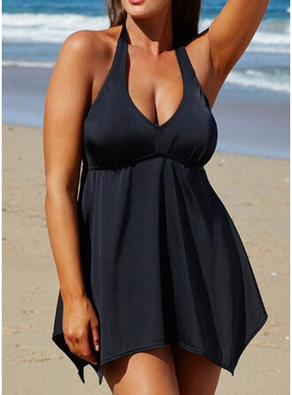 Solid Color Halter V-Neck Vintage Plus Size Swimdresses Swimsuits