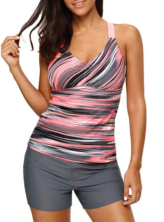 Stripe Top Strap Sports Tops Swimsuits