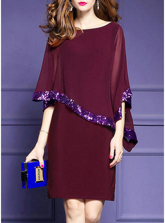 Split Sleeve Sheath Dress Knee Length Dresses
