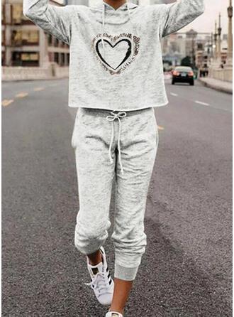 Καρδιά Minta Επιδεικτικός Ανέμελος Plus μέγεθος sweatshirts & Ρούχα Δύο Κομματιών Set ()