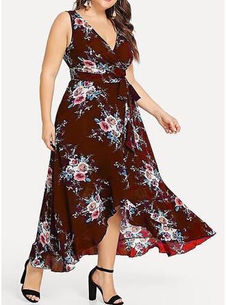 Print/Floral Sleeveless A-line Asymmetrical Casual/Elegant/Plus Size Dresses