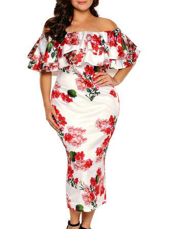Print/Floral Short Sleeves Bodycon Midi Casual Dresses